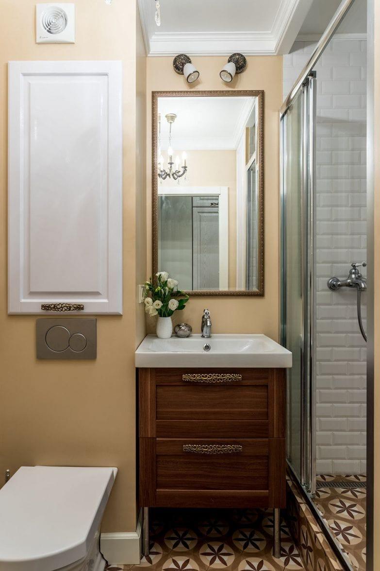 Фотография: Ванная в стиле Кантри, Малогабаритная квартира, Квартира, Проект недели, Наталья Сытенкова – фото на InMyRoom.ru