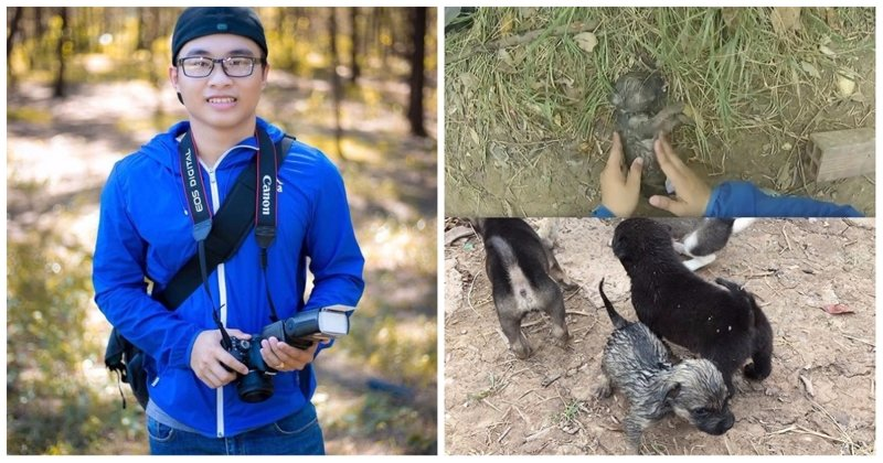 Вьетнамец спас наглотавшегося в реке воды щенка, сделав ему вентиляцию лёгких бутылкой Вьетнам, в мире, видео, животные, собака, спасение, утопление, щенок