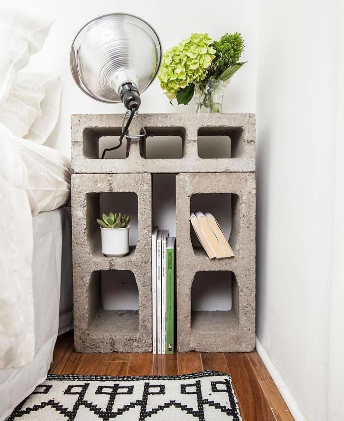 Concrete Block Bedside Table By The New Design