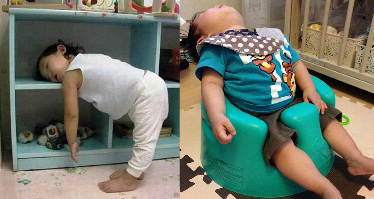 Малыши могут спать в любой позе и в любом месте